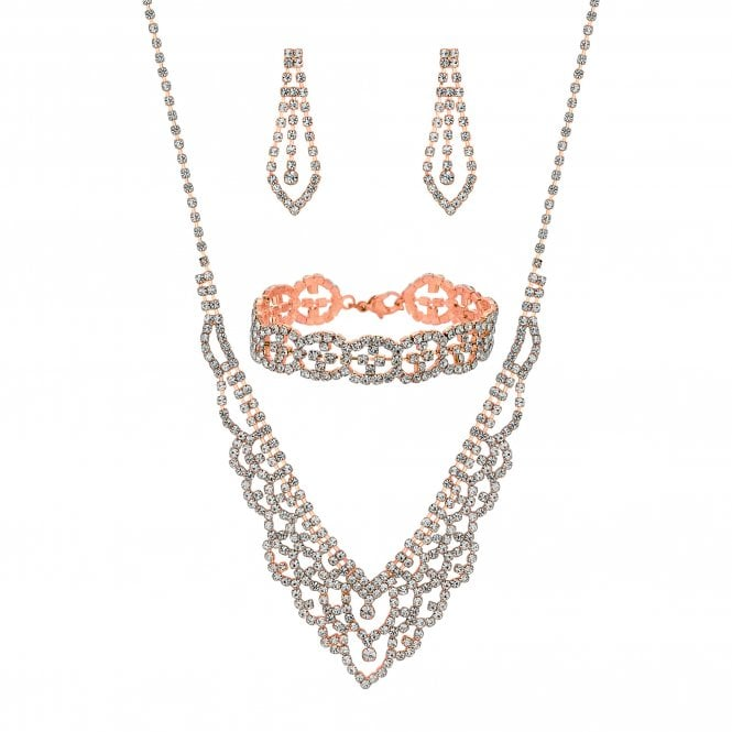 Rose Gold Crystal Diamante Jewellery Set