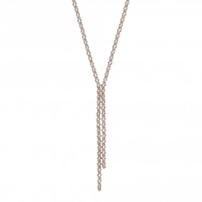 Rose Gold Crystal Lariat Necklace