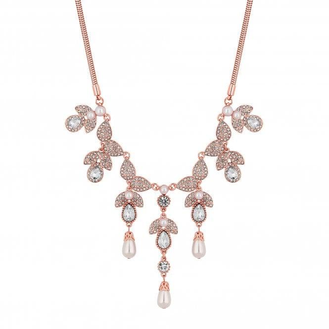 Rose Gold Crystal Petal Statement Necklace