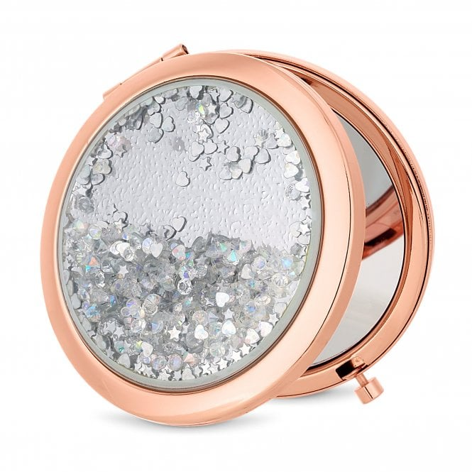 Rose Gold Crystal Shaker Compact Mirror