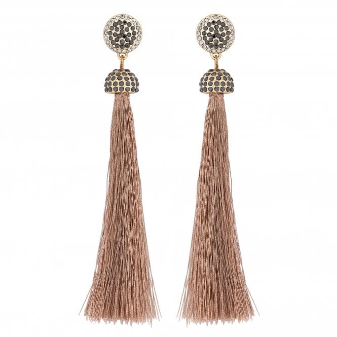 Rose Gold Crystal Tassel Drop Earring