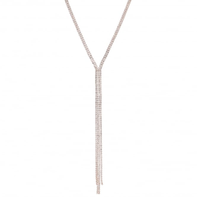 Rose Gold Diamante Crystal Lariat Necklace