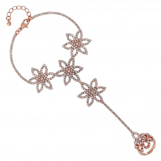 Rose Gold Diamante Flower Statement Hand Chain