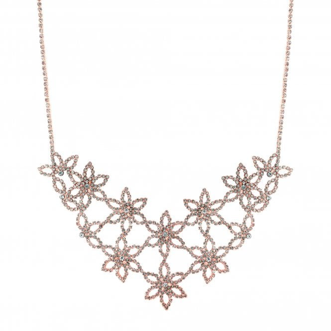 Rose Gold Diamante Flower Statement Necklace