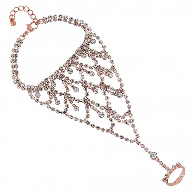 Rose Gold Diamante Statement Hand Chain