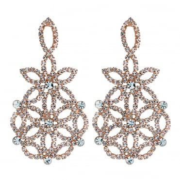 Rose gold floral diamante earring