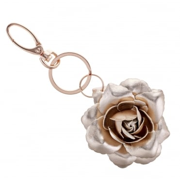 Rose gold open flower keyring