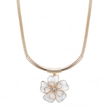 Rose gold open flower torque necklace