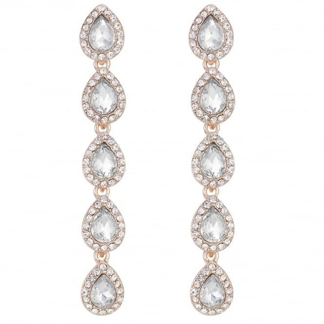 MOOD By Jon Richard Rose Gold Pave Crystal Peardrop Drop Earring