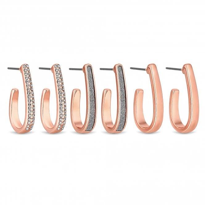 Rose Gold Plated Crystal Hoop Earrings - Pack Of 3