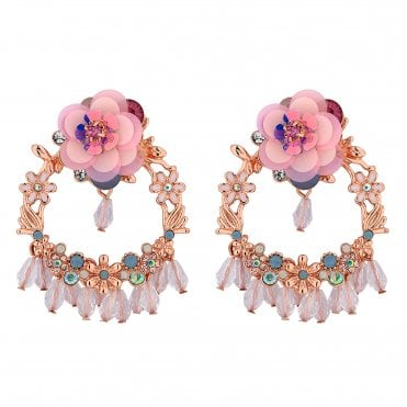 04827f9da Rose Gold Plated Mixed Floral Front Facing Hoop Drop Earring