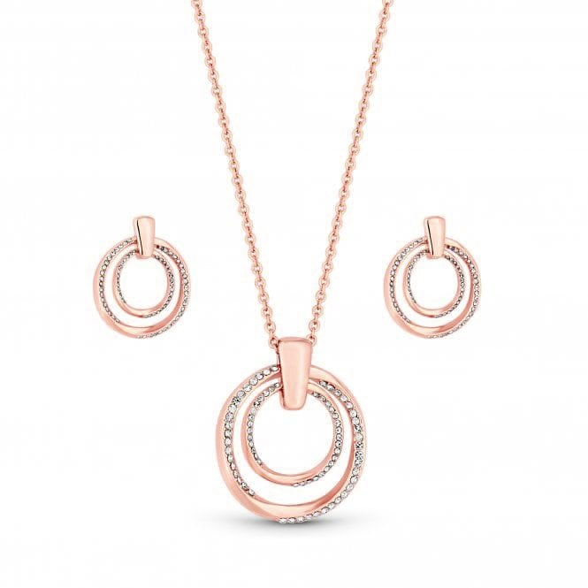 Rose Gold Plated Polished And Crystal Twist Open Set