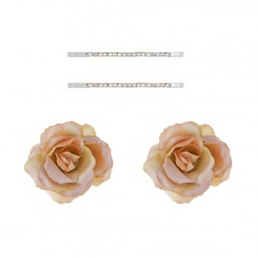 Set of four silk flowers and diamante hair slides