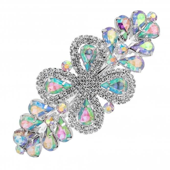 Silver Aurora Borealis Crystal Hair Clip