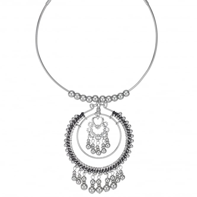 Silver Beaded Oversized Statement Necklace