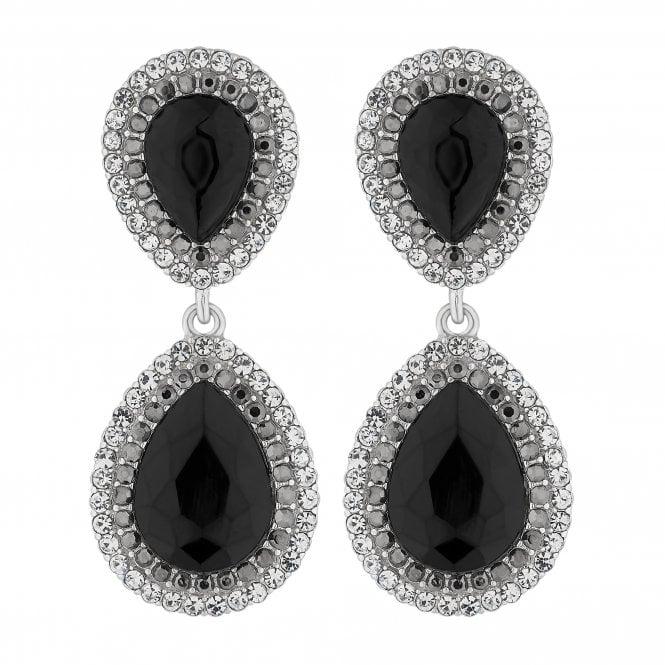 Silver Black Crystal Peardrop Earring