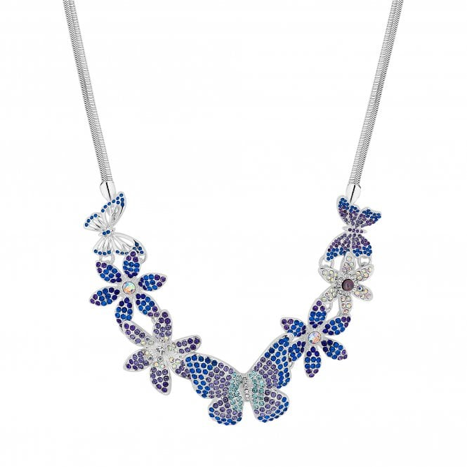 Silver Blue Crystal Butterfly Statement Necklace