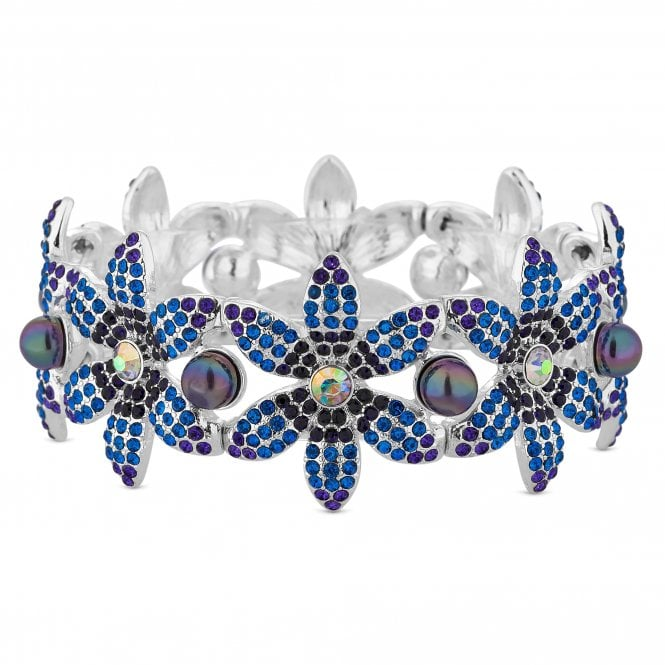 Silver Blue Crystal Flower Stretch Bracelet