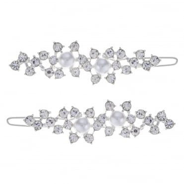 Silver crystal and pearl hair slide set