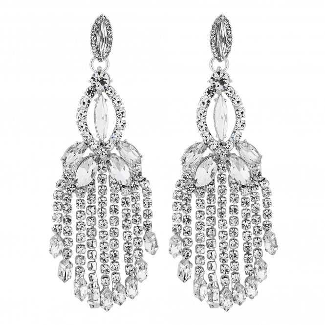 Silver Crystal Chandelier Drop Earring