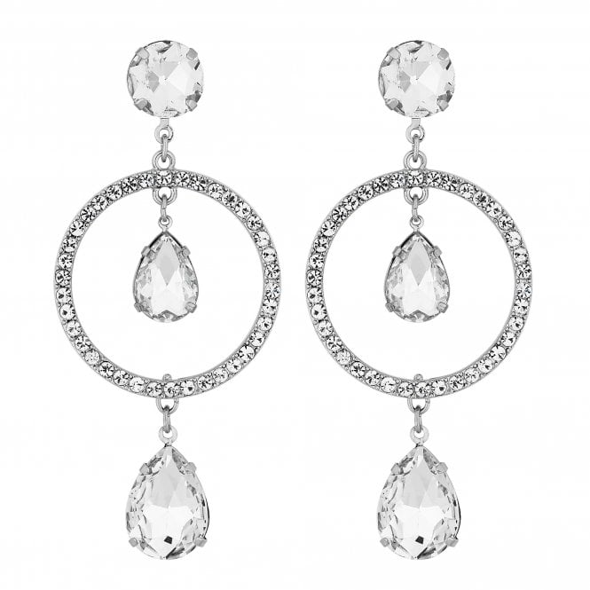 Silver Crystal Circle Drop Earring