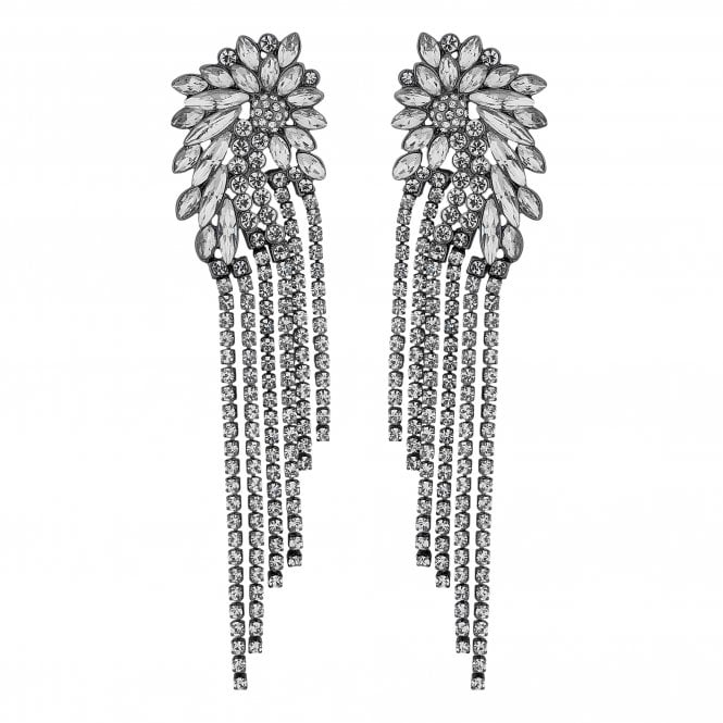 Silver Crystal Cluster Diamante Shower Earring