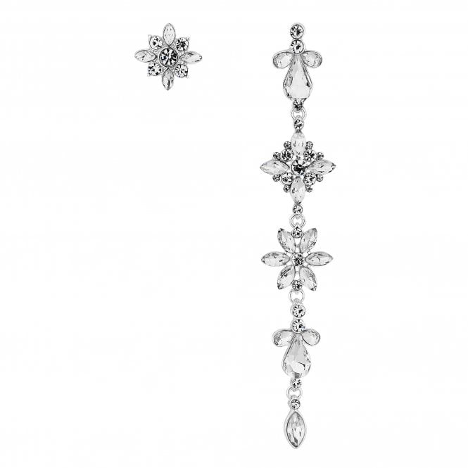 Silver Crystal Cluster Mismatched Drop Earring