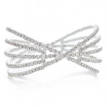 Silver crystal diamante cross over cuff