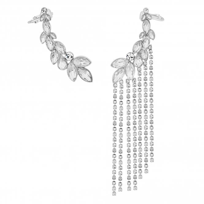 Silver Crystal Diamante Shower Ear Cuff Set