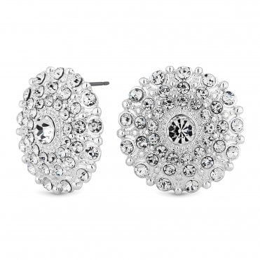Silver Crystal Disc Stud Earring