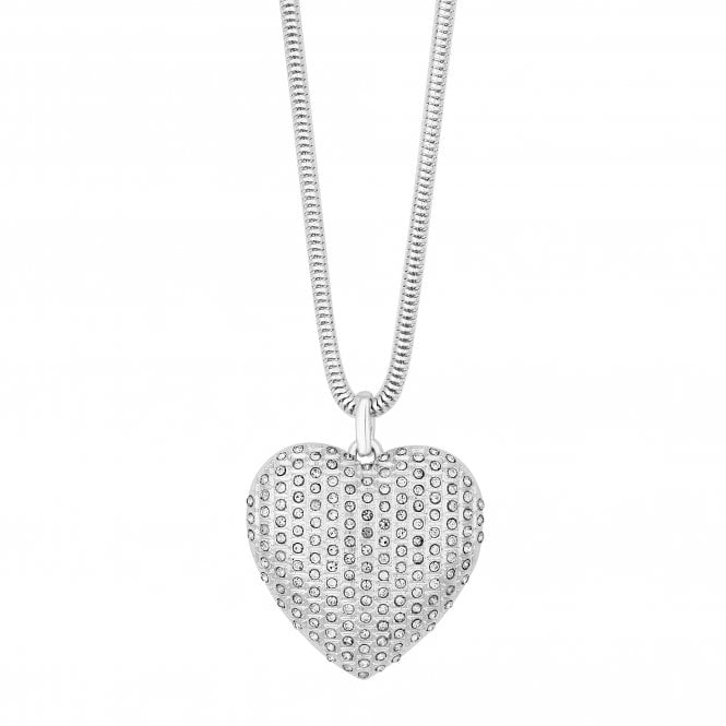 Silver Crystal Encrusted Heart Long Necklace