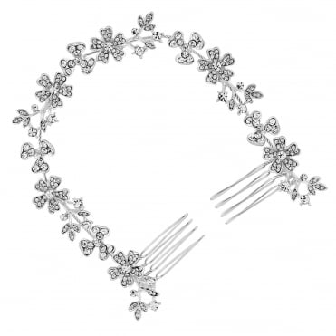 Silver crystal floral double hair comb