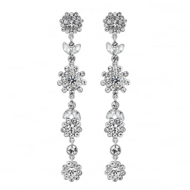 Silver crystal floral drop earring