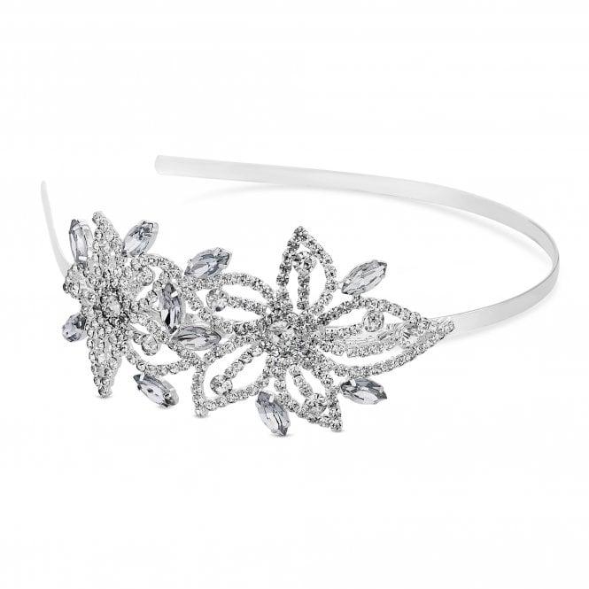 Silver Crystal Floral Headband