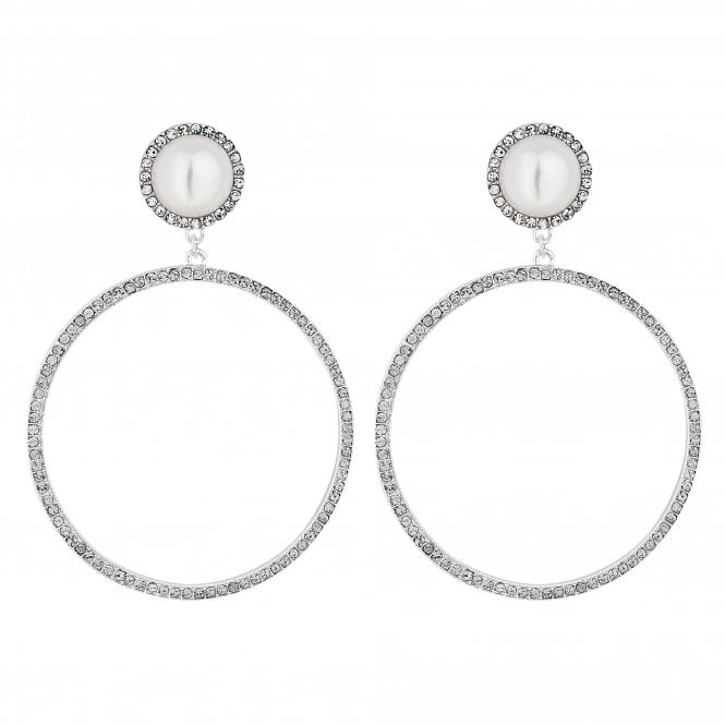 Silver Crystal Hoop Drop Earring