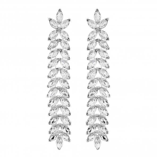 Silver Crystal Leaf Drop Earring