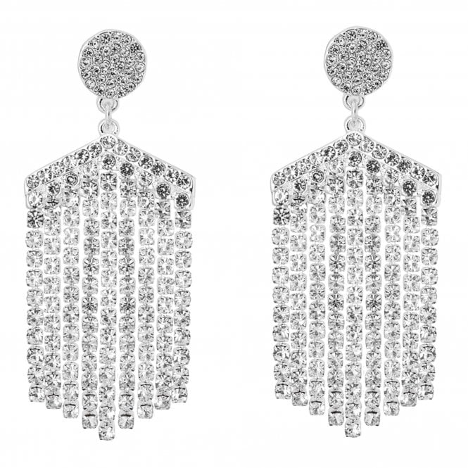 Image of Silver Crystal Oversize Diamond Chandelier Earring