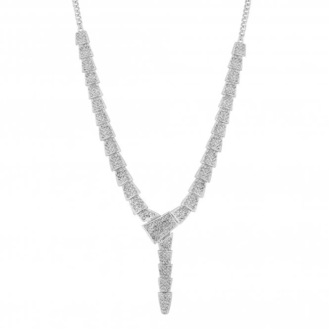 Silver Crystal Pave Link Lariat Necklace