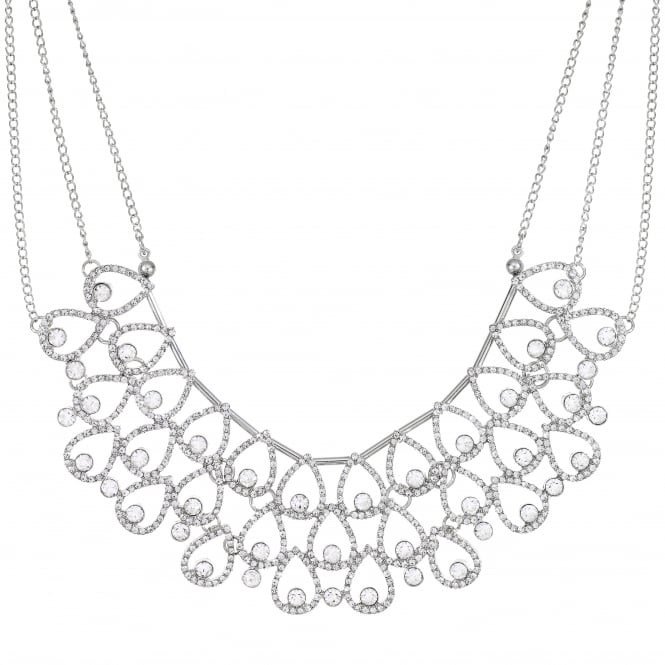 Silver Crystal Peardrop Statement Necklace