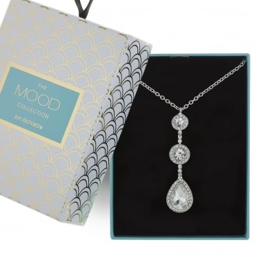 Silver crystal peardrop necklace