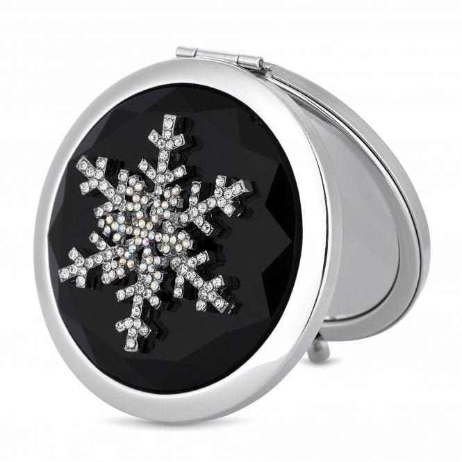 Silver Crystal Snowflake Compact Mirror