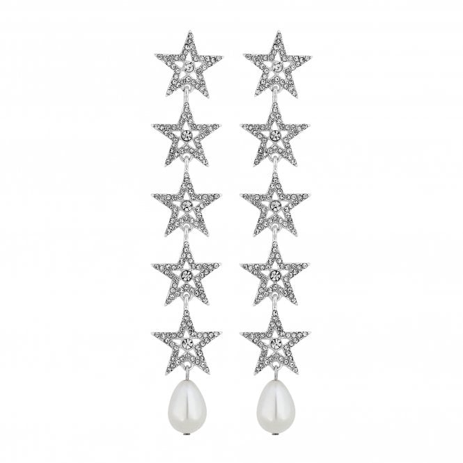 Silver Crystal Star Drop Statement Earring