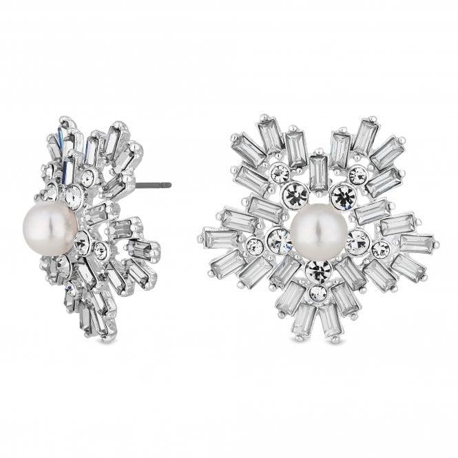 Silver Crystal Starburst Stud Earring