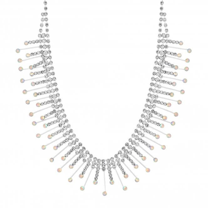 Silver Crystal Stick Collar Necklace