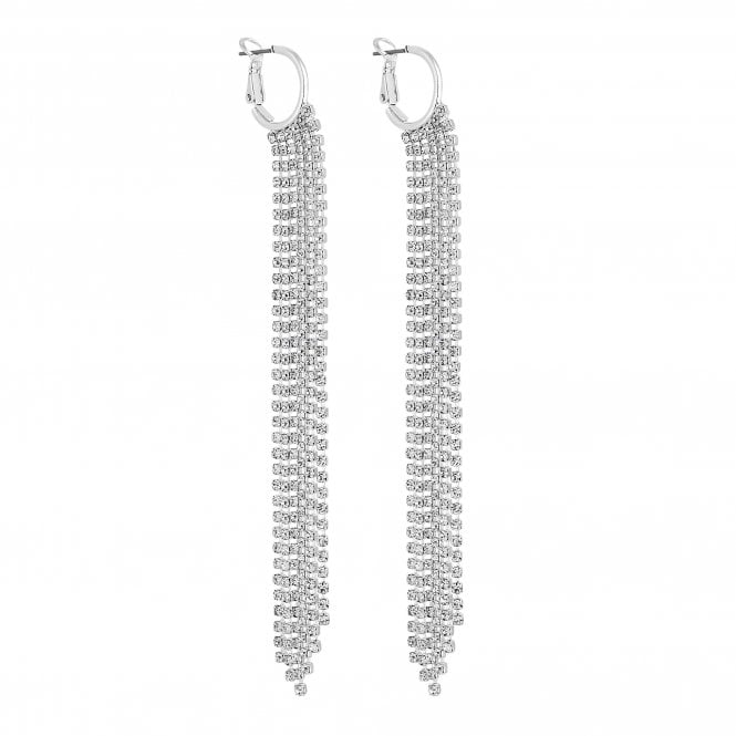 Silver Diamante Crystal Tassel Hoop Earring