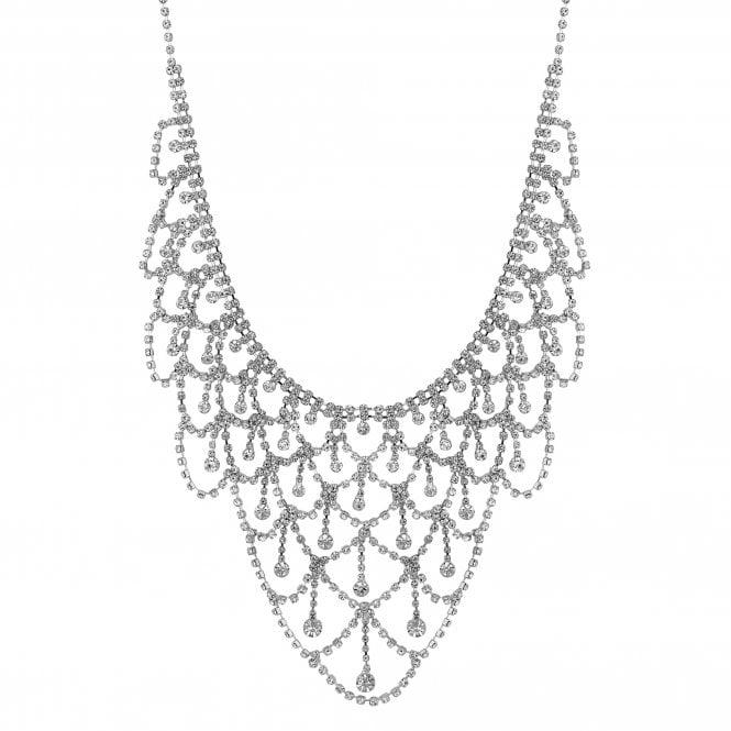 Silver Diamante Drape Statement Necklace
