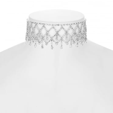 Silver Diamante Droplet Choker Necklace