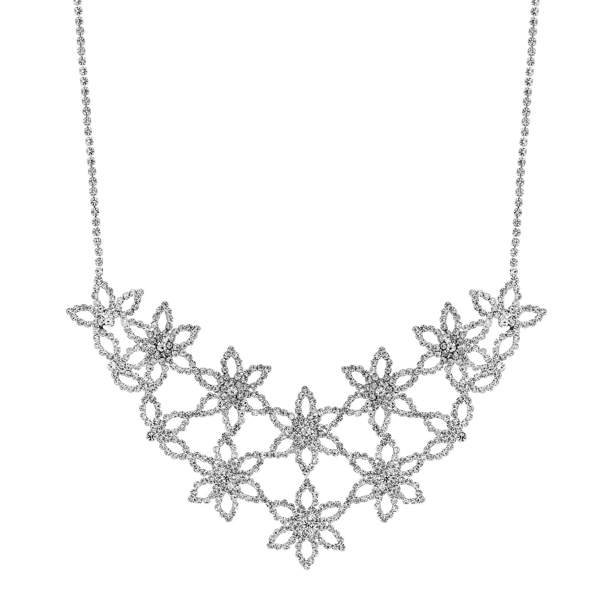 Mood By Jon Richard Silver Diamante Flower Statement Necklace Sale