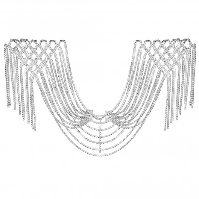 Silver Diamante Statement Shoulder Cape