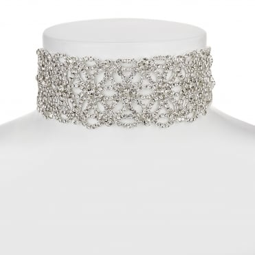 Silver floral crystal choker necklace